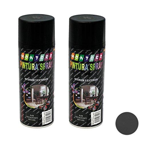 Montoro - Pack de 2 Botes de Pintura en Spray Gres Mate A48 400 ml