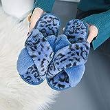 HUSHUI Felpa CóModo Pantuflas,Zapatillas Antideslizantes de Fondo Plano, Zapatos con Forma de Cruz-Blue_38-39,Suave AlgodóN Zapatilla Pareja Zapatos