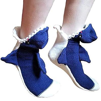 Thethan 3D White Shark Socks Crew Socks Soft Handmade Great White Novelty Slipper Sock