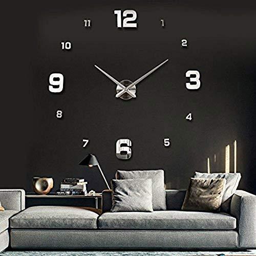 UBaymax DIY Wanduhr Moderne Clock, 3D Acryl Spiegel Rahmenlose Wanduhr, Geräuschlos Wandaufkleber Dekoration Groß Wanduhr Geschenkidee Uhr für Küche Wohnzimmer Schlafzimmer, Silber