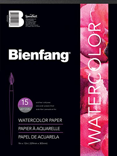 Bienfang Watercolor Paper Pad 9-Inch by 12-Inch, 15 Sheets