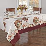Elrene Home Fashions Holiday Turkey Bordered Fabric Tablecloth for Fall/Harvest/Thanksgiving, 52' x 52', Multi