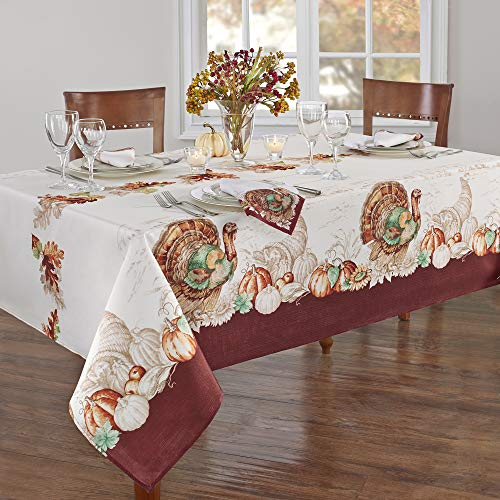 Elrene Home Fashions Holiday Turkey Bordered Fabric Tablecloth for Fall/Harvest/Thanksgiving, 52