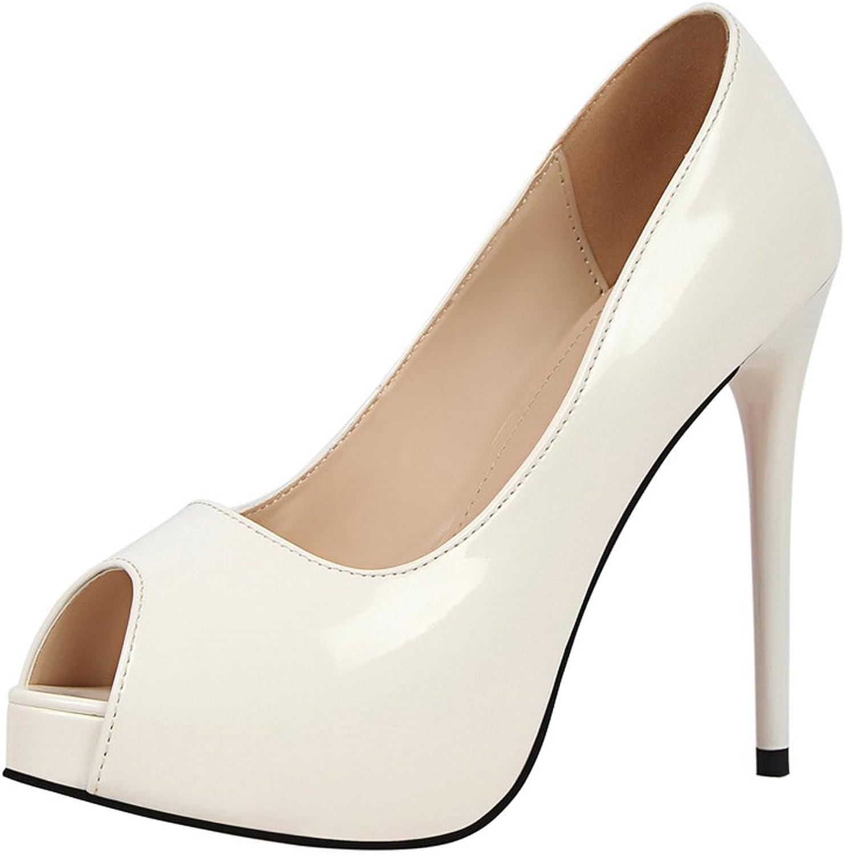 BIGTREE Peep Toe Women Sandals Patent Leather Platform Sandals Wedding High Heels