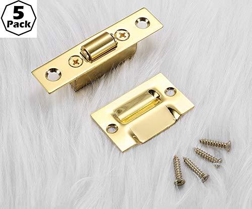 Satijn nikkel kastdeur drive-in balvanger met sluitplaat, hoge kwaliteit messing sluitplaat kastdeur balvanger Suck Touch Beads klinkvangsten (6 pack) -C