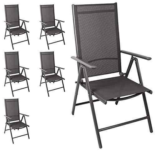 Wohaga 6er Set Aluminium Hochlehner 'Miami' Textilenbespannung Grau, Lehne 7 Positionen verstellbar, klappbar