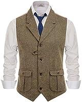 PJ PAUL JONES Men's Slim Fit Tailored Collar Waistcoat Wool Tweed Suit Vest Coffee, Small