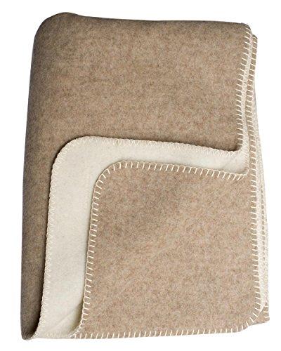 STEINBECK, Doubleface-Decke Ökolana aus 100% naturbelassener Schurwolle, 150 x 200 cm, 1800 Gramm (Beige/Natur, 150 cm x 200 cm)