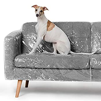 Better Than Plastic Slipcover Vinyl Sofa Protector - 96  Waterproof Pet Furniture Covers for Cats & Dogs - Scratch & Stain - XL Clear Leather Couch Protective Slip Bag  96 W x 40 D 42 BH x 18 FH