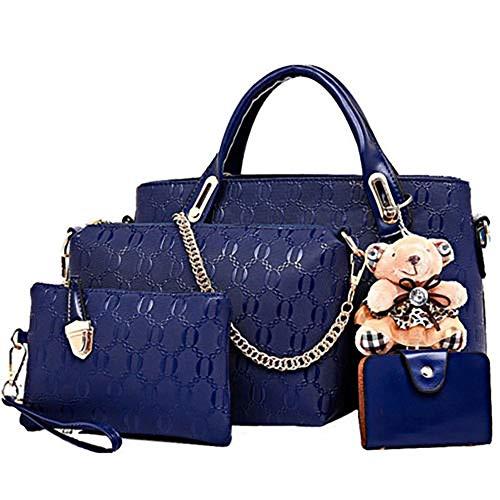 Conjunto de bolsa de cuero de PU de 4 piezas con asa superior para mujer (bolsa grande, bolso, bandolera, tarjetero), Azul