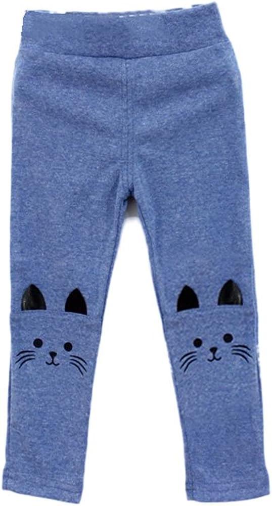 Minuya Kinder M/ädchen Baumwoll Leggings S/ü/ße Katze Muster Einfarbig Elastische Taille Lang Hosen 2-7 Jahre