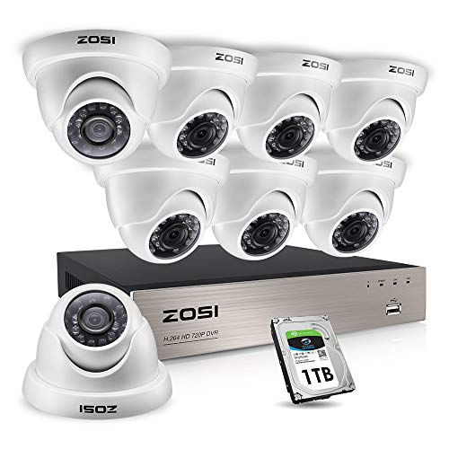 ZOSI 1080p Home Security Cameras System Outdoor Indoor, Security DVR 8Channel with Hard Drive 1TB and 8 x 1080p Weatherproof Surveillance Dome Cameras, Remote Access, Motion Detection Camera DVR Electronics Features Kits Photo Surveillance