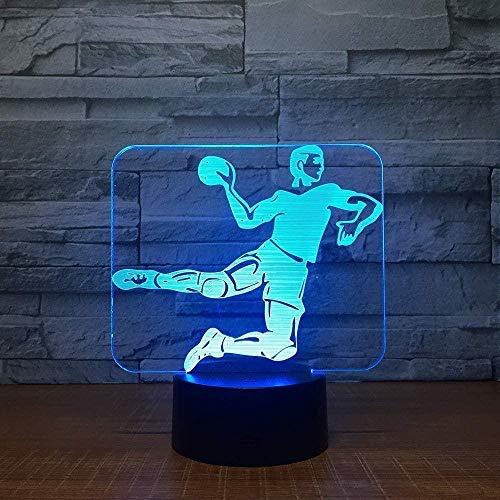 Balonmano 3D Luz LED Base táctil de 7 colores Reloj de luz nocturna 3D Reloj de luz nocturna para dormir para bebés Fan de los deportes Regalo para niños