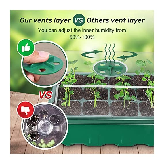 5-Pack Seed Trays Seedling Starter Tray,Humidity Adjustable Plant Starter Kit with Dome and Base Greenhouse Grow Trays… 3 【Keep an eye on your plant】: The only design in the market- High quality clear plastic trays of this seed grow kit make it easier to observe your plants without interrupting the process. 【Total control】: Adjustable vents of this seed trays allow you to regulate the temperature and humidity of your seedling environment, so you have total control over the germination process. 【Perfect for the heat mat】: With its excellent resistance to high and low temperature, these seedling trays are strong enough to be used on a heat mat and no-worry melting.