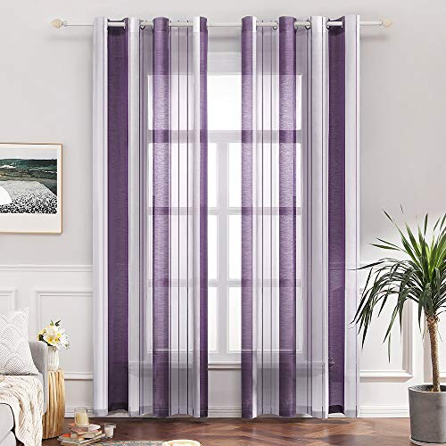 MIULEE Voile Vorhang Transparente Gardine aus Voile mit Ösen Schlaufenschal Ösenschals Transparent Fensterschal Wohnzimmer Schlafzimmer 2er Set 140x225 cm Stripe Lila