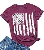 American Flag Shirt Patriotic Stars Stripes T Shirt Top Women Short Sleeve Casual Graphic Print Tee Shirt (L, Red)