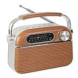 Radio Vintage Diseño Retro USB / MP3 / Reproductor Micro SD - Portátil - Antena retráctil - Radio a Pilas y Red eléctrica - 20 CM x 12 CM - Diseño Madera y Acero Inoxidable