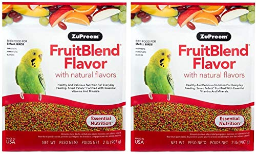 ZuPreem FruitBlend Flavor Pellets Bird Food for Small Birds | Powerful Pellets Made in USA, Naturally Flavored for Parakeets, Budgies, Parrotlets (2 lb Bag (2-Pack))