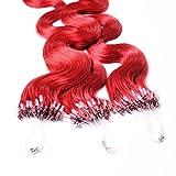 hair2heart 50 x 0.5g Echthaar Microring Loop Extensions, 40cm - gewellt - #rot
