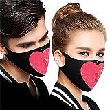 2 Piezas ma_scarillas h_omologadas Negro Tela Lavables Reutilizables para Adultos para día de San Valentín ,diseño de Amor