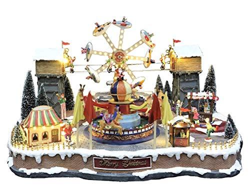 25 twentyfive Pueblo navideño con Parque de Atracciones Animado, Luces y música - 70 x 45 x 52 cm