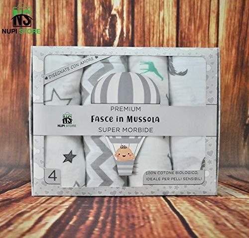 NuPi Store® Mussole Neonato | 100% Cotone Biologico | 120x120 cm | Pacco da 4 | Delicate sulla pelle | Morbide | Tutte le Stagioni | Copertina Neonato | Regali Neonato | Design Italia | Scatola Regalo