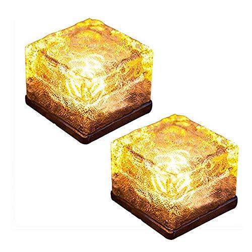 Toifucos Luz Solar de ladrillo de Vidrio, Luces LED Hielo para Exteriores, Cubo Cuadrado, Luz De Roca Enterrada, Luz Vidrio Esmerilado para Jardín Patio Camino, 2 Paquete, Blanco cálido