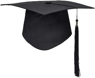 YeahiBaby Schwarze Abschlusskappe - Master Graduation Hut mit Quaste, quadratische College Cap, Akademisches Kleid