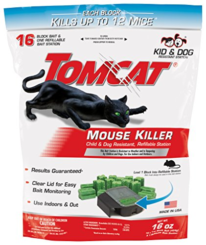 Tomcat Mouse Killer Refillable Station for Indoor/Outdoor Use - Child and Dog Resistant, 1 Station with 16 Baits (Bag)