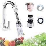 Zumeca - Accesorio de Filtro aireador de Grifo de Agua, Cabezal de Boquilla de rociado para Grifo de Cocina y baño movible, Grifo de Agua de 360°, Plateado