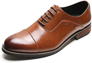 PengCheng Pang Fomal Oxford for Men Casual Wedding Shoes Lace up Microfiber Leather Pointed Toe Block Heel Three Joints Burnished Style Non-Slip (Color : Brown-Taller, Size : 6 UK)