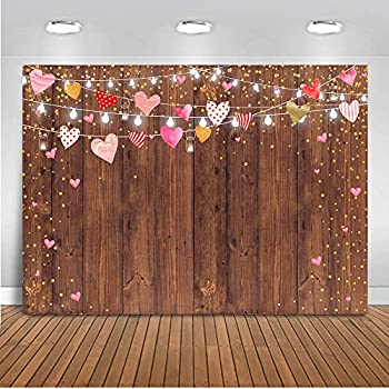 Mocsicka Rustic Wood Mother s Day Backdrop 7x5ft Brown Wood Light Bulbs Red Love Hearts Galentine s Day Photography Background Wedding Decorations Happy Valentine s Day Photobooth Backdrops