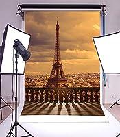 GooEoo 3×5フィートビニール写真の背景パリのテーマエッフェル塔風景バルコニー空撮シームレス背景スタジオの小道具子供子供女の子誕生日パーティー休日の家の装飾