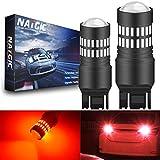 NATGIC 7443 T20 7440 7440NA Bombillas LED Rojo 2400LM 48-SMD 4014 Chipsets con proyector para parar la Cola Luz de Parada de estacionamiento del Marcador del Lado del Freno (Paquete de 2)