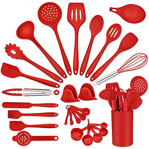 P&P CHEF Red Cooking Utensil Set of 28, Silicone Kitchen Utensil Kit for Nonstick Cookware, Measuring Cups, Oven Mitts, Silicone Mat, Holder, Non Toxic &Heat-resistant