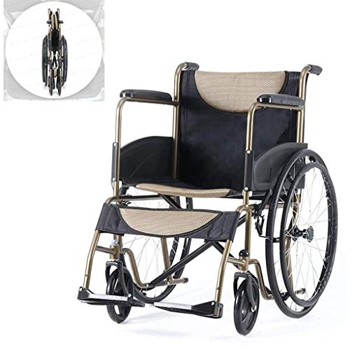 Daily Equipment Wheelchair Self Propelled Lightweight Folding Portable Manual with Adjustable Foot Pedal Non Pneumatic Tire Large Capacity Storage Bag Disabled/Elderly Trolley Scooter