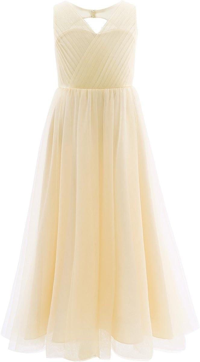 TiaoBug Flower Girl Wedding Princess Cutout Back Floor Length Dress Long Formal Evening Summer Chiffion Bridesmaid Maxi Dress