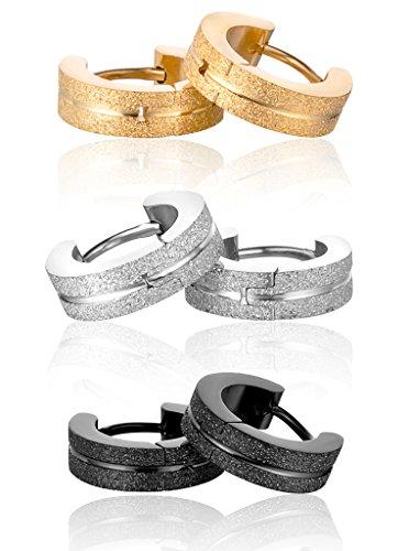 YumiLok - Orecchini a cerchio in Acciaio Inox Opaco ipoallergenico, per bambini, da uomo e da donna, 3paia (colore: nero, oro, argento)