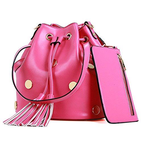 DoubleMay Damen Vintage PU Leder Handtasche Umhängetasche Schultertasche Nieten Fransen Bucket Taschen ideal für Büro Freizeit Outdoor XC-1031 (Rose Rot)
