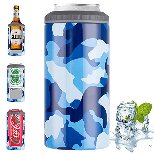 Vacuum Insulated Can Cooler - 4-in-1 Can Holder and Beer Bottle Holder 9 Hours Cold - Double-walled Stainless Steel Can Cooler for Michelob Ultra, White Claw, Truly & Redbull (Blue camouflage)
