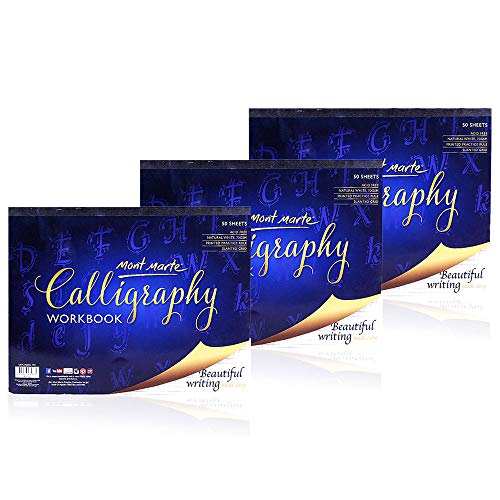Mont Marte Calligraphy Paper Workbook Letters 3Pack, each Pack Contains 50 Sheets