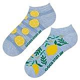 soxo Damen Sneaker Socken | Kurze Socken für Frauen mit Lustigen Mustern | Größen 35-40 (Zitronen)