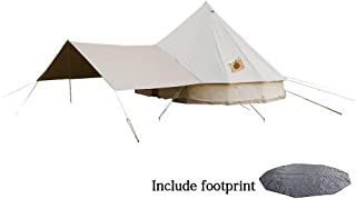DANCHEL OUTDOOR Cotton Bell Tent with Front Awning, Footprint and Two Stove Jacket