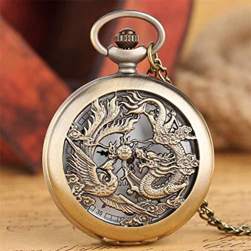 SLSFJLKJ Retro Antiguo dragón Phoenix Reloj de Bolsillo de Cuarzo Hombres Mujeres Collar Cadena Colgante Moda Bronce Steampunk Regalo de Amante