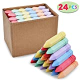 24 PCS Cone Shaped Non-Toxic Washable Sidewalk Jumbo Chalk Set for Art Play, Summer Outdoor Games and Chalkboard Drawing