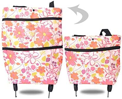 Wave woyada 2 In 1 Foldable Shopping Cart Collapsible Two-Stage Zipper Shopping Bag With Wheels