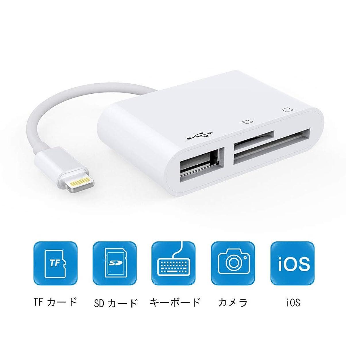 傷つきやすい追加請求可能iPhone SDカードリーダー マイクロSDカードリーダー USB3.0高速伝送 3in1メモリカードリーダー SDカード/Micro SDカード/USBマルチカードリーダー iOS9.1以降システム対応 (ホワイト)