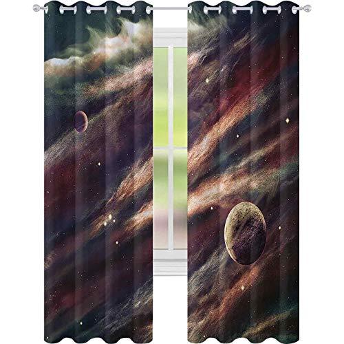 Cortinas opacas para dormitorio, planetas sobre la nebulosa gaseosa, espacio místico galaxia estrella, 52 x 108, panel de cortina de ventana para dormitorio, color marfil