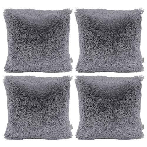 Sea Soft Lion Velvet Throw Pillow Case Cushion Cover Fashion Home Decorative Pillowcase (4-pack) (Grey)