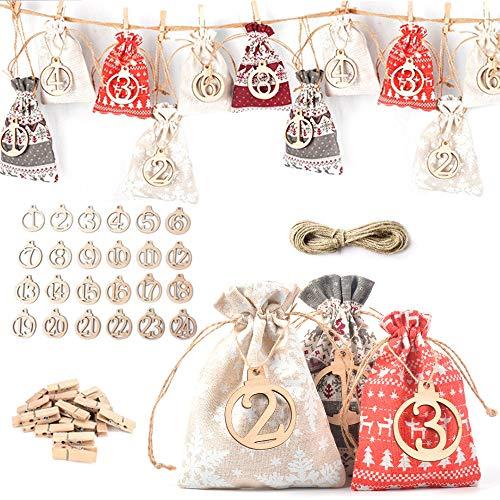 Anyasen 24 Calendriers de l'Avent Sachets Calendrier De l'Avent Calendrier de l'Avent à Remplir Sachets en Tissu Calendrier De l'Avent Remplissable avec 1 à 24 Chiffres en Bois, Calendrier de Noël